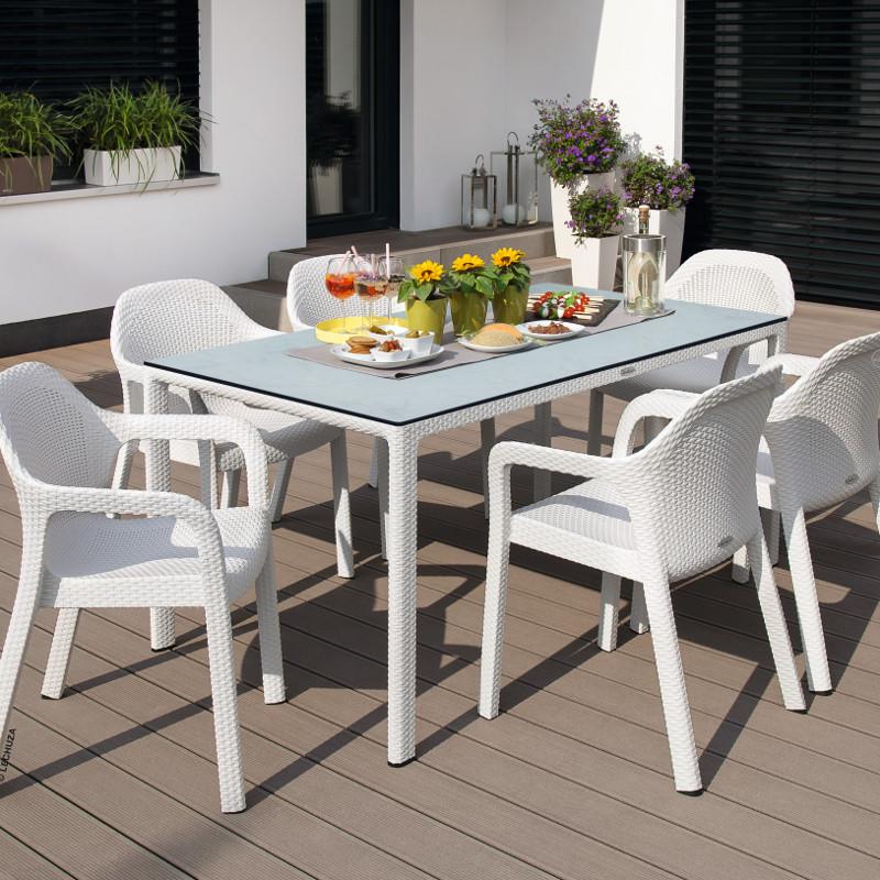 Lechuza Esstisch mit HPL-Tischplatte 160x90 cm weiß XL-Gartenmöbel ...